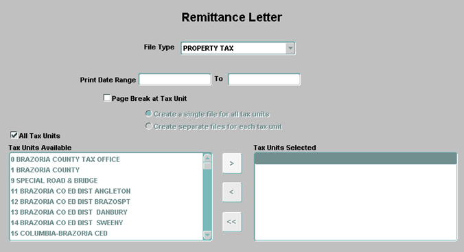 Jurisdiction Remittance Letters Screen